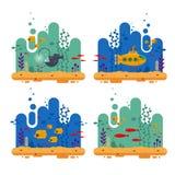 Κίτρινο υποβρύχιο με την υποβρύχια έννοια περισκοπίων Θαλάσσια ζωή με το κοπάδι ψαριών, ψάρια ψαράδων, κοράλλι, φύκι, ζωηρόχρωμο ελεύθερη απεικόνιση δικαιώματος