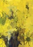 Κίτρινο υπόβαθρο κτυπημάτων βουρτσών Στοκ Εικόνες