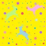 Κίτρινο υπόβαθρο με τις μορφές των deers και των αστεριών απεικόνιση αποθεμάτων