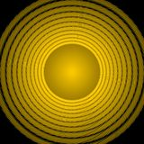 Κίτρινο υπόβαθρο με τον κύκλο κλίσης στους μέσους και ομόκεντρους κατασκευασμένους κύκλους Στοκ φωτογραφία με δικαίωμα ελεύθερης χρήσης