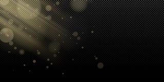 Κίτρινο φως φω'των και ακτίνων bokeh σε ένα διαφανές υπόβαθρο η αφηρημένη ανασκόπηση σχε&delt Ελαφριά επίδραση για τη φωτογραφία  διανυσματική απεικόνιση