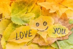 Κίτρινο φύλλο με μια εικόνα ενός ευτυχούς προσώπου και της αγάπης επιγραφής εσείς Στοκ εικόνα με δικαίωμα ελεύθερης χρήσης