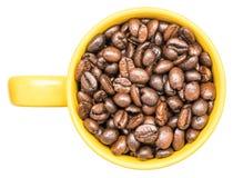 Κίτρινο φλυτζάνι καφέ με τα φασόλια καφέ Στοκ Φωτογραφία