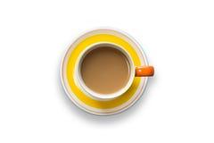 Κίτρινο φλυτζάνι καφέ τοπ άποψης στο λευκό Στοκ φωτογραφία με δικαίωμα ελεύθερης χρήσης