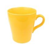 Κίτρινο φλυτζάνι κουπών για το νερό τσαγιού καφέ στο άσπρο υπόβαθρο Στοκ εικόνα με δικαίωμα ελεύθερης χρήσης