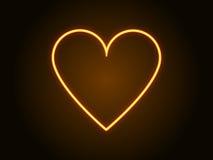 Κίτρινο χρώμα σημαδιών καρδιών νέου διάνυσμα απεικόνιση αποθεμάτων