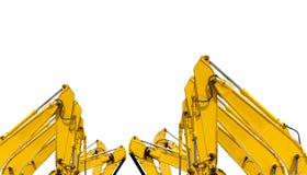 Κίτρινο backhoe τον υδραυλικό βραχίονα εμβόλων που απομονώνεται με στο λευκό Βαριά μηχανή για την ανασκαφή στο εργοτάξιο οικοδομή στοκ εικόνα