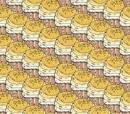 Κίτρινο cupcakes γλυκών άνευ ραφής χέρι σχεδίων doodle διανυσματικό που σύρεται Εκλεκτής ποιότητας υπόβαθρο αρτοποιείων Στοκ Εικόνες