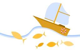 Κίτρινο sailboat ύφους κινούμενων σχεδίων Στοκ φωτογραφία με δικαίωμα ελεύθερης χρήσης