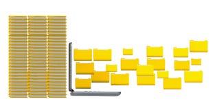 κίτρινο starage lap-top φακέλλων αρχείων στοιχείων - τρισδιάστατη απόδοση Στοκ φωτογραφίες με δικαίωμα ελεύθερης χρήσης
