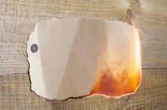 Καίγοντας έγγραφο Στοκ Εικόνα