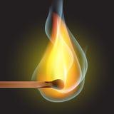 Καίγοντας αντιστοιχία σε ένα μαύρο διάνυσμα υποβάθρου Στοκ Εικόνες
