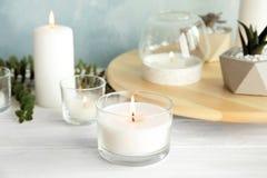 Καίγοντας αρωματικές κερί και εγκαταστάσεις στοκ εικόνα με δικαίωμα ελεύθερης χρήσης
