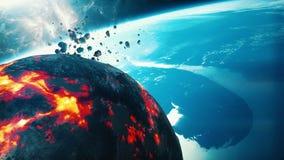 Καίγοντας αστεροειδής πλησιάζοντας γη ελεύθερη απεικόνιση δικαιώματος