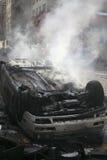 καίγοντας αυτοκίνητο Στοκ Εικόνα