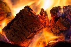 Καίγοντας βιο περιβαλλοντικός μακρο πυροβολισμός ανθρακόπλινθων κοντά επάνω στοκ εικόνες