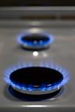 Καίγοντας δαχτυλίδια κουζινών αερίου έτοιμα να μαγειρεψουν Στοκ φωτογραφίες με δικαίωμα ελεύθερης χρήσης