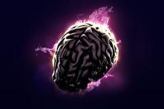 Καίγοντας εγκέφαλος ανασκόπησης μπλε αντικείμενο χρημάτων απεικόνισης κιβωτίων καφετί εννοιολογικό ευρο- Στοκ Εικόνα