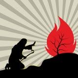 καίγοντας θάμνος Μωυσής διανυσματική απεικόνιση