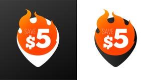 καίγοντας καρφίτσες έκπτωσης 5 δολαρίων Άσπρες και μαύρες παραλλαγές Απομονωμένα διανυσματικά αντικείμενα απεικόνιση αποθεμάτων