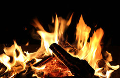 καίγοντας καυσόξυλο Στοκ Φωτογραφίες