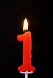 Καίγοντας κερί κεριών ως αριθμός ένας στο Μαύρο Στοκ φωτογραφία με δικαίωμα ελεύθερης χρήσης