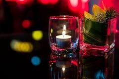Καίγοντας κερί στο φλυτζάνι γυαλιού Στοκ Φωτογραφία