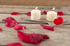Καίγοντας κεριά που περιβάλλονται με τα αρωματικά ροδαλά πέταλα Στοκ φωτογραφίες με δικαίωμα ελεύθερης χρήσης