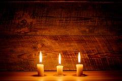 καίγοντας κεριά τρία Στοκ Εικόνες