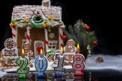 Καίγοντας κεριά ως αριθμοί 2018 Στοκ Εικόνες