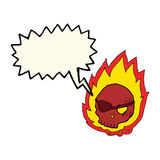 καίγοντας κρανίο κινούμενων σχεδίων με τη λεκτική φυσαλίδα Στοκ φωτογραφία με δικαίωμα ελεύθερης χρήσης