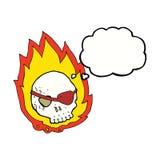 καίγοντας κρανίο κινούμενων σχεδίων με τη σκεπτόμενη φυσαλίδα Στοκ Φωτογραφία