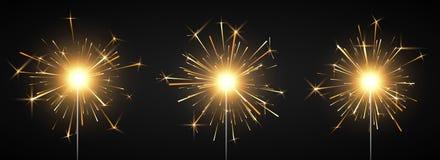 Καίγοντας λαμπρό πυροτέχνημα sparkler Πυρκαγιά της Βεγγάλης Στοιχείο ντεκόρ κόμματος Μαγικό φως r διανυσματική απεικόνιση