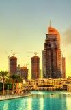 Καίγοντας ξενοδοχείο του Ντουμπάι διευθύνσεων στο κέντρο της πόλης Στοκ εικόνα με δικαίωμα ελεύθερης χρήσης