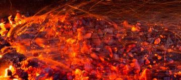 Καίγοντας ξυλάνθρακας ως υπόβαθρο Στοκ εικόνα με δικαίωμα ελεύθερης χρήσης