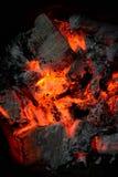 καίγοντας ξυλάνθρακας Στοκ Φωτογραφίες