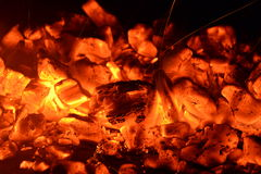 καίγοντας ξυλάνθρακας Στοκ Εικόνες
