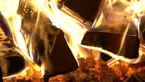 Καίγοντας ξύλινη κινηματογράφηση σε πρώτο πλάνο απόθεμα βίντεο