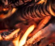 Καίγοντας ξύλο με τις φλόγες aroud αυτό Στοκ εικόνα με δικαίωμα ελεύθερης χρήσης