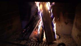 Καίγοντας ξύλο στην εστία στο σκοτάδι φιλμ μικρού μήκους