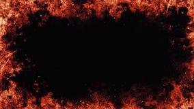 Καίγοντας περίληψη πλαισίων φλογών στο απομονωμένο μαύρο υπόβαθρο συνόρων απεικόνιση αποθεμάτων