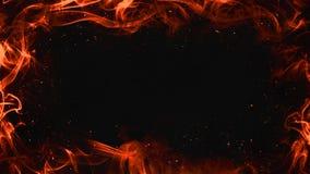 Καίγοντας περίληψη πλαισίων φλογών στο απομονωμένο μαύρο υπόβαθρο συνόρων διανυσματική απεικόνιση