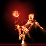 Καίγοντας ποδοσφαιριστής διανυσματική απεικόνιση
