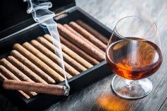Καίγοντας πούρο και κονιάκ στο γυαλί Στοκ εικόνα με δικαίωμα ελεύθερης χρήσης