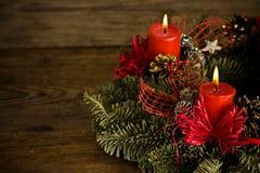 καίγοντας στεφάνι Χριστουγέννων Στοκ Εικόνα
