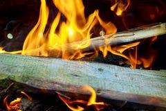 Καίγοντας φλόγες και καμμένος άνθρακας BBQ, θερμή πορτοκαλιά φωτιά με τα κομμάτια του ξύλου Στοκ Φωτογραφίες