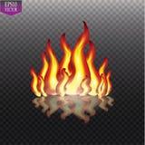 Καίγοντας φλόγες πυρκαγιάς στο διαφανές υπόβαθρο Διανυσματική ειδική ελαφριά επίδραση διανυσματική απεικόνιση