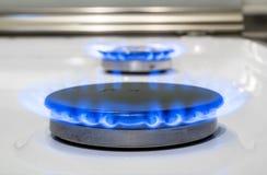 Καίγοντας φούρνοι οικιακού αερίου καυστήρων αερίου πυρκαγιάς Στοκ φωτογραφία με δικαίωμα ελεύθερης χρήσης