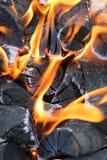 Καίγοντας φωτιά με τους άνθρακες Στοκ Φωτογραφίες