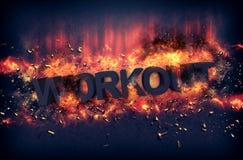 Καίγοντας φλόγες και εκρηκτικοί σπινθήρες - WORKOUT Στοκ Εικόνα